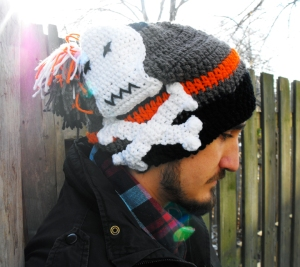 Crochet cross bones hat